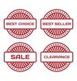 Red rubber stamp set sale best seller best choice vector