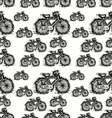 Seamless pattern of sketch bicycle vector