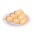 Stack of cream pancake on a plate vector