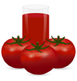 Three ripe tomatoes and a glass of juice vector