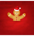 Gingerbread man with santa hat and old red vector