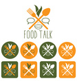 Food talk and icon set vector