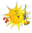 Cartoon sun cleaner vector