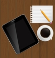 Abstract design tablet coffee pencil blank page on vector