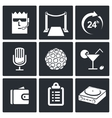Night club icons set vector