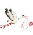 Stork delivering a girl vector
