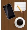 Abstract design phone coffee pencil blank page on vector