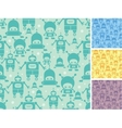 Cute cartoon robots seamless pattern background vector
