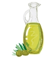 Green olives with bottle of olive oil vector