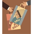 Human hand with shopping bags vector