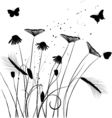 Traced graphic elements - weeds and butterflies vector