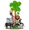 Various funny cartoon safari animal vector
