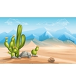 Desert with cactus on a background of mountains vector