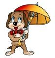 Dog with umbrella vector