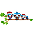 Cute chritsmas blue birds family vector