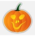 Sticker - halloween orange pumpkin head with face vector