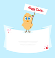 Easter chicken with signboard vector