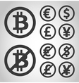 Bitcoin euro dollar font and yen money icons vector