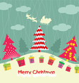 Merry christmas card with christmas trees and gift vector