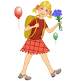 Girl on his way to school vector