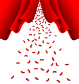Red ribbon fall from red curtain vector