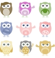 Set of nine cartoon owls with various emotions vector