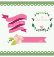 Set of vintage flowers and ribbons vector