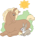Sunbathing horse vector