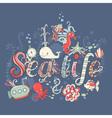 Cute fantasy summer sea card vector