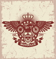 Stamp moto club with a skull and wings vector