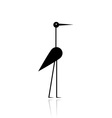 Funny stork black silhouette for your design vector
