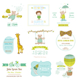 Set of baby shower and arrival cards vector