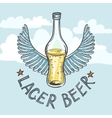 Lager beer on sky background vector