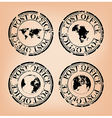 Black post stamps with map of the world vector