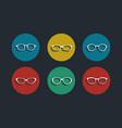 Black glasses icons set on white background vector
