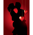 Silhouette of couple kissing vector