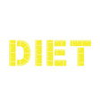 Diet word with yellow measuring tape vector