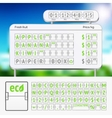 Mechanical scoreboard green alphabet with numbers vector