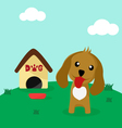 Cute dog in front of his home with a bowl of food vector
