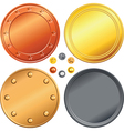 Set of gold silver bronze money coins vector