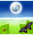Full moon green grass and insects vector