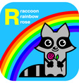 Abc raccoon rainbow rose vector