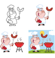 Pig chef with sausage collection vector