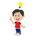 Cartoon boy with a good idea vector