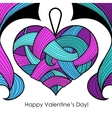 Greeting card with blue heart vector