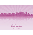 Edmonton skyline in purple radiant orchid vector