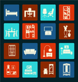 Interior icon set-flat furniture icons vector