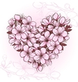 Cherry blossom in the shape of heart vector