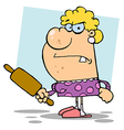 Angry wife with a rolling pin vector