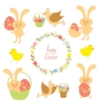Set for easter with easter items vector